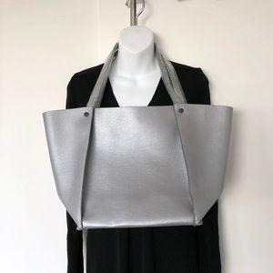 Neiman Marcus silver shopper tote